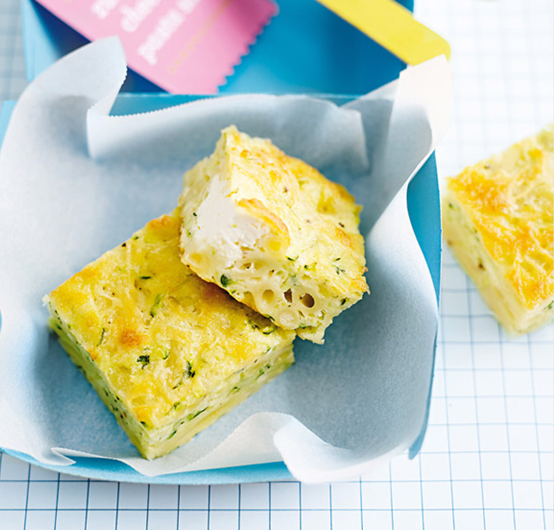 Kids Lunch Box - Zucchini, cheese and pasta slice