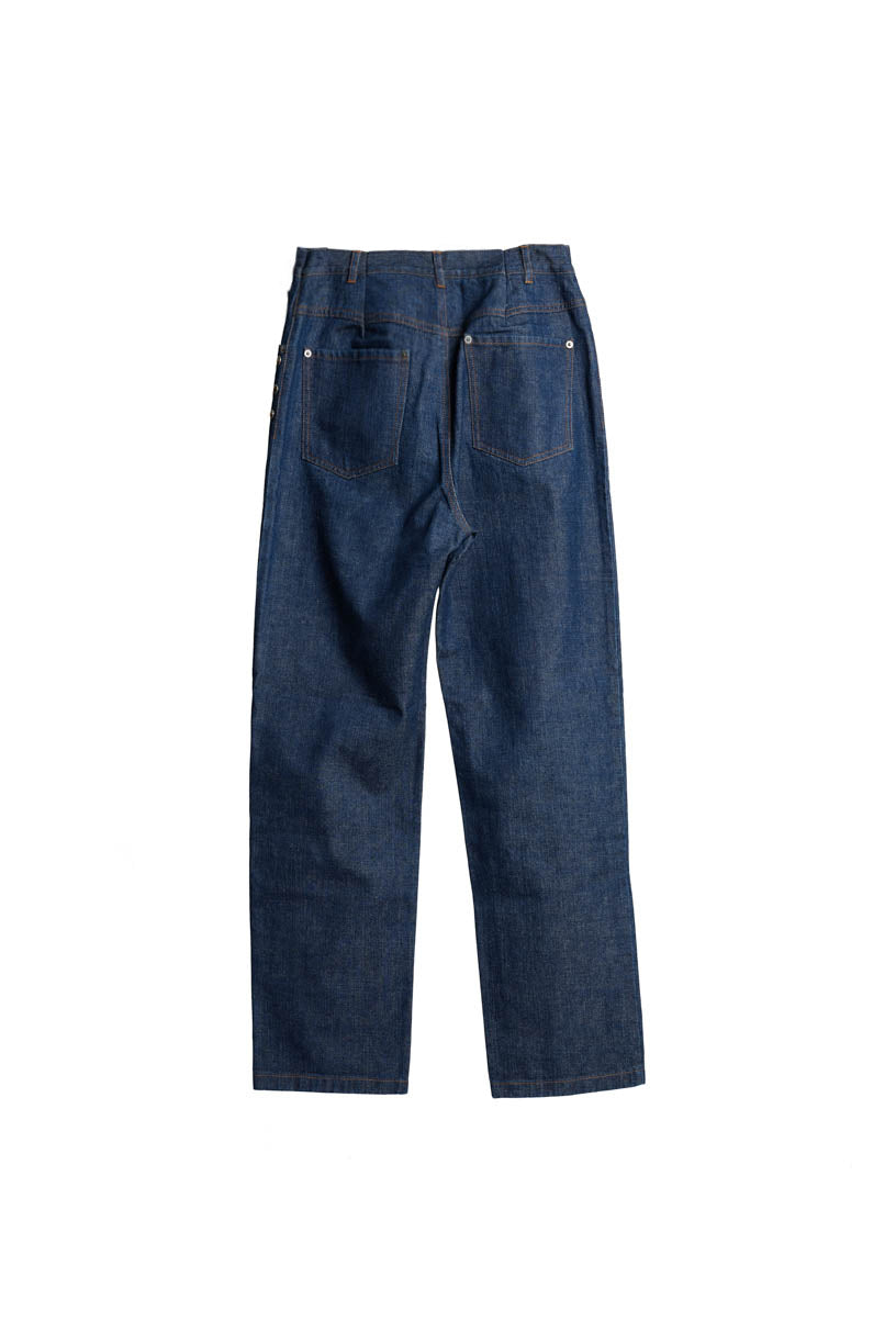 Button Straight Jeans - Blue