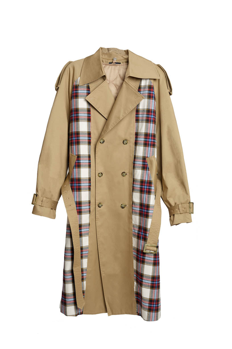 Checkered Trench - Khaki/Red Check