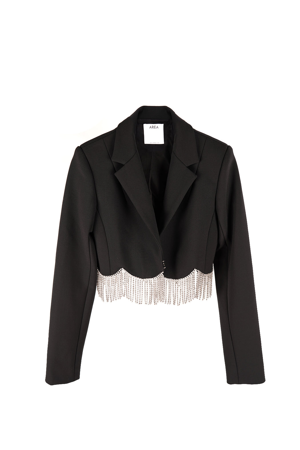 Cropped Blazer with Scalloped Crystal Hem - Black