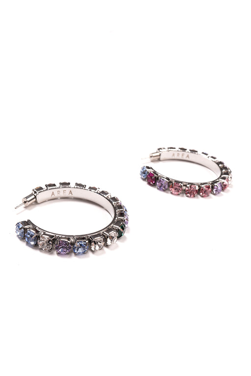 Medium Round Hoop Earrings - Silver/Multi