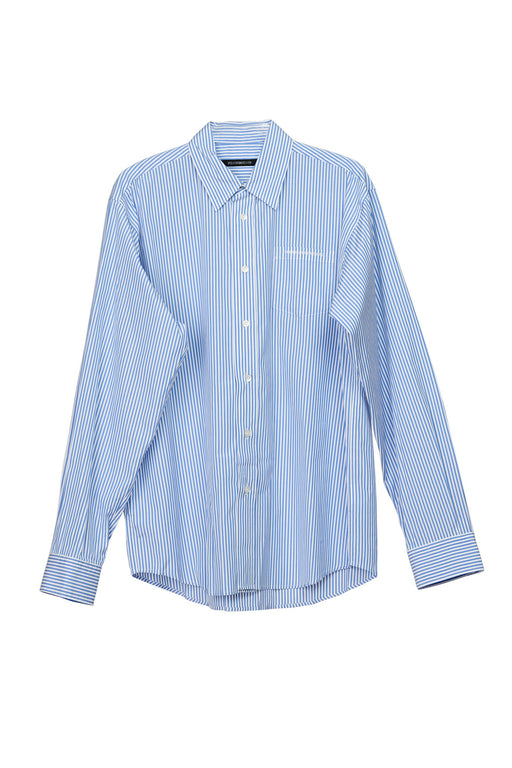 Pinstripe Back Panel Oversized Shirt - Blue