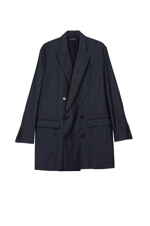 Virgin Wool Plaid Oversized Double Breasted Blazer - Navy