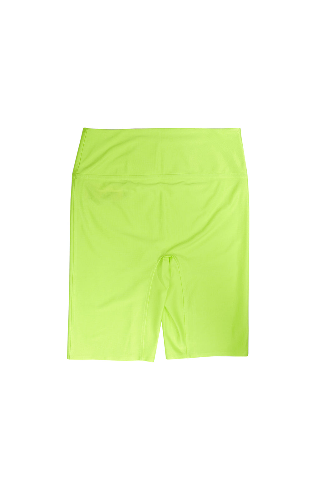 Glossy Half Leggings - Neon Yellow