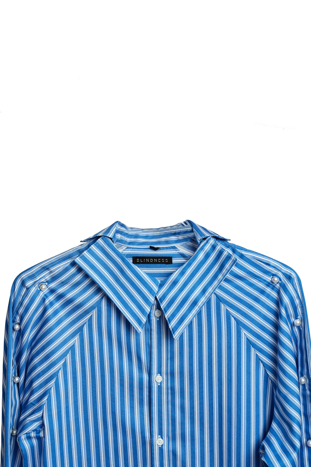 Button Up Pearl Shirt - Stripe Blue