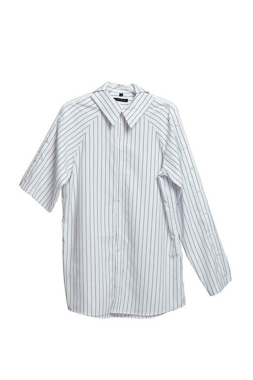 Asymmetric Shirt - Stripe White
