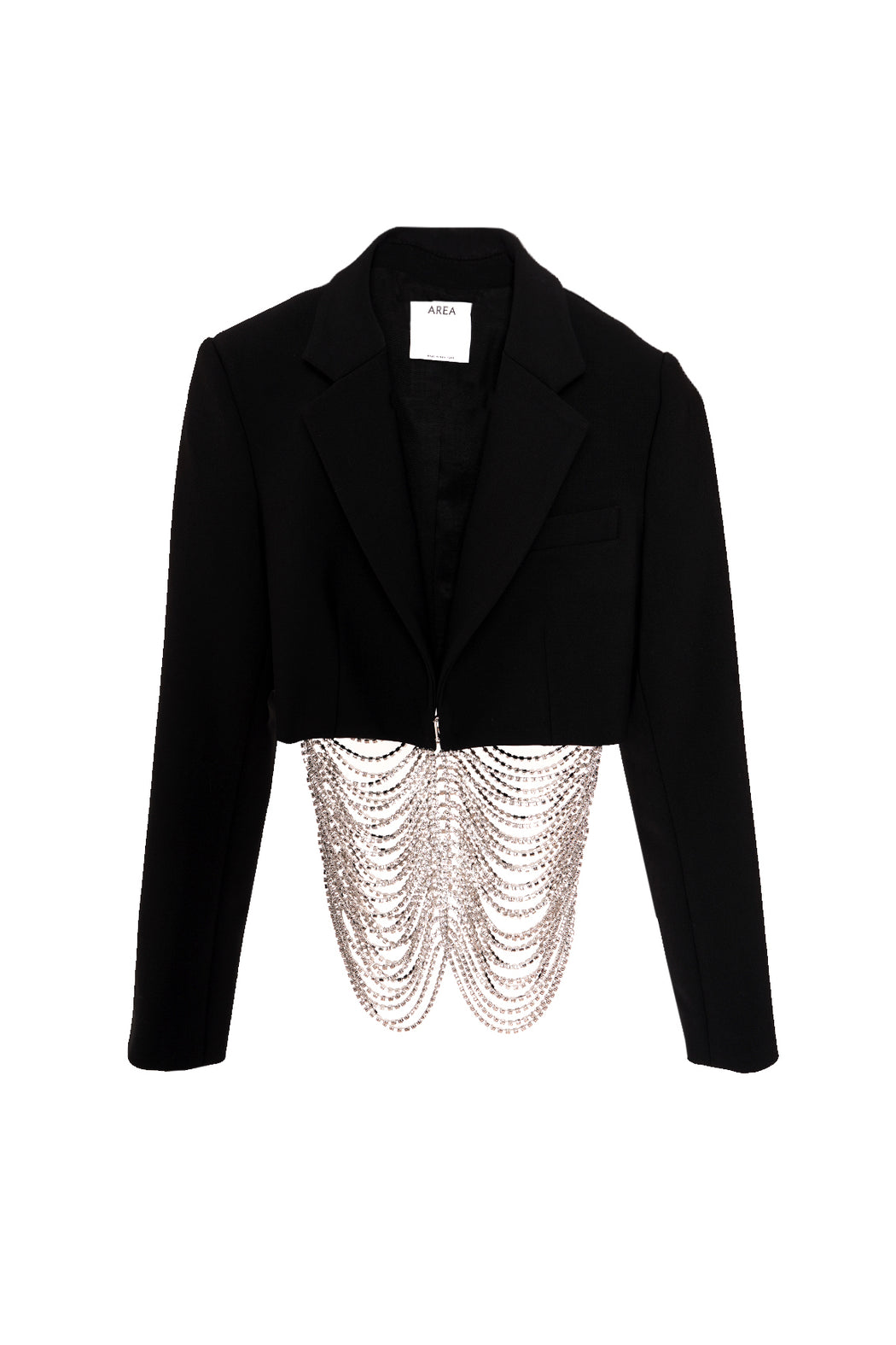 Crystal Cage Cropped Blazer - Black