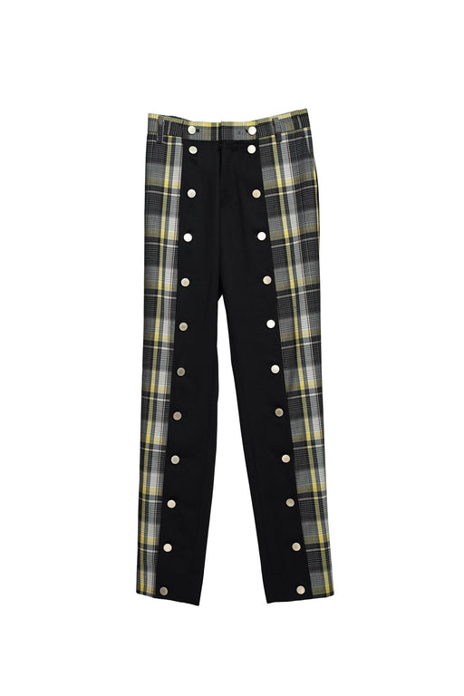 Open Front Check Trousers - Tartan Check Black