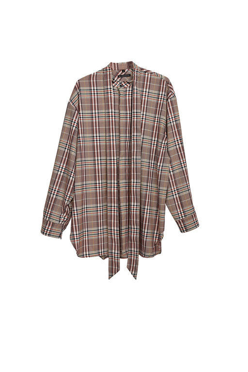 Oversized Checkered Shirt - Beige