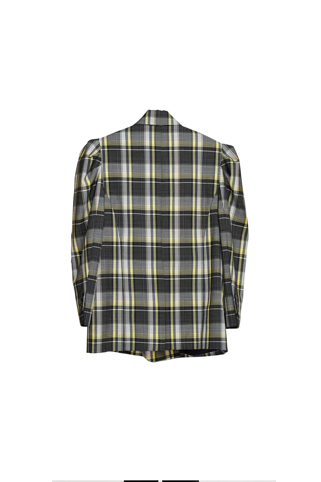 Double Breasted Button Jacket - Tartan Check Black