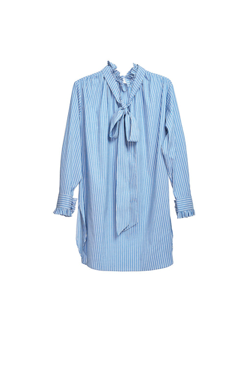 Neck And Cuff Frill Detail Shirt - Stripe Skyblue