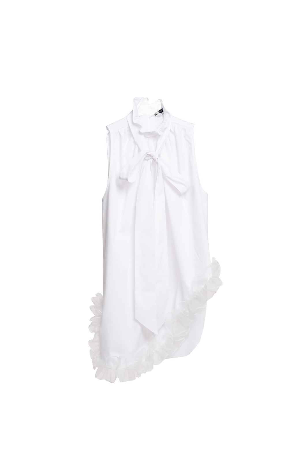 Sleeveless Frill Shirt - White