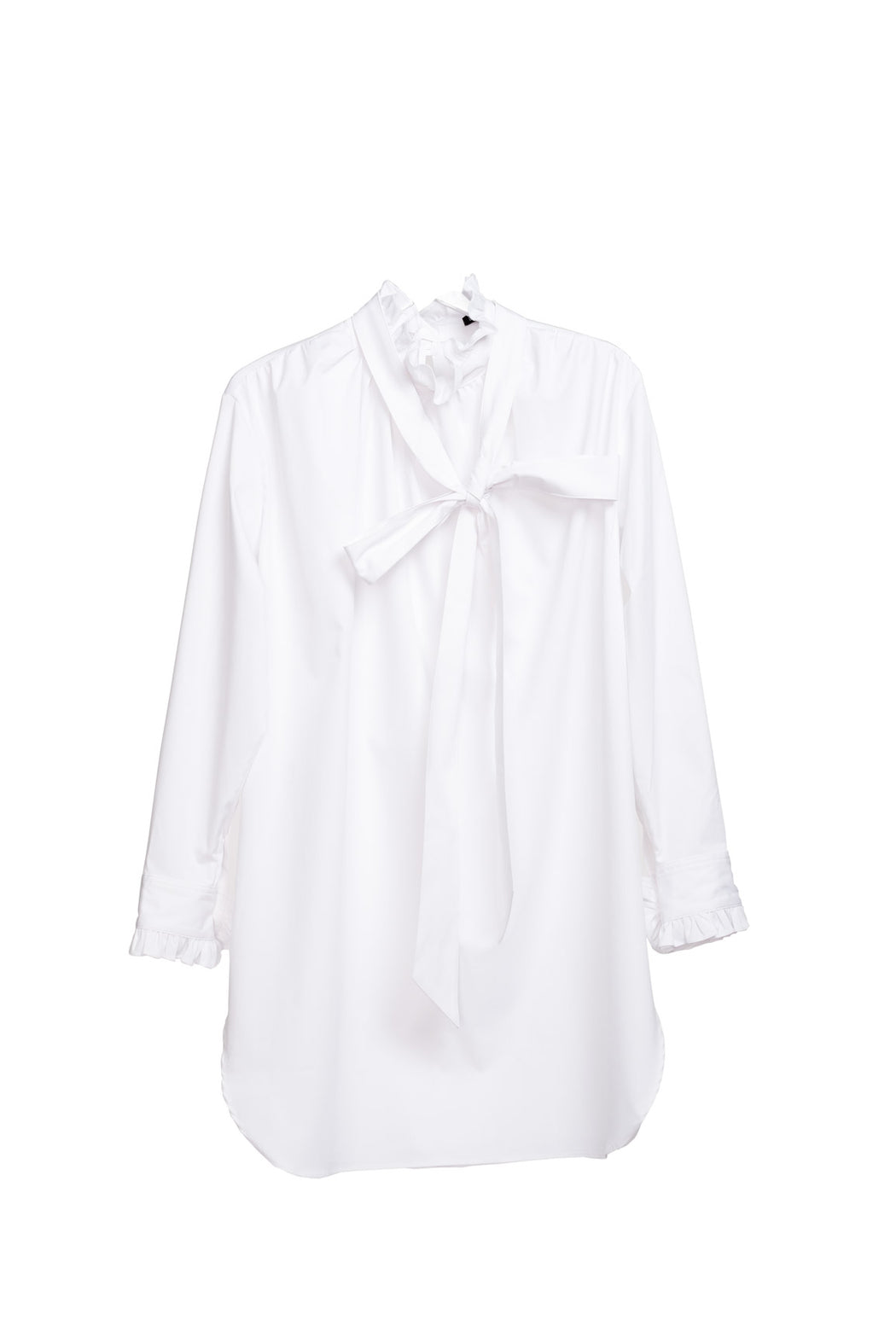Neck And Cuff Frill Detail Shirt - White