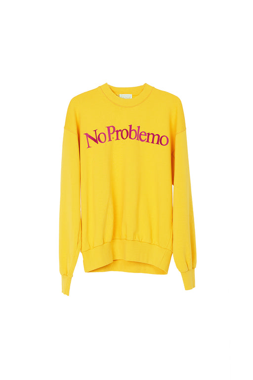 No Problemo Flocked Crew Sweat - Yellow/Purple