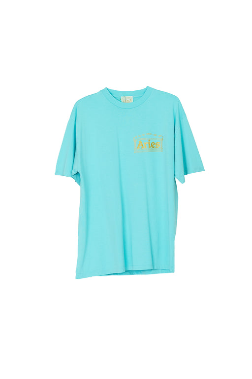 Basic Temple SS Tee - Aqua/Gold