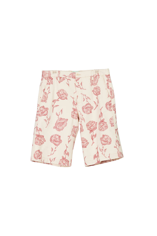 Rose Chino Shorts - White/Red