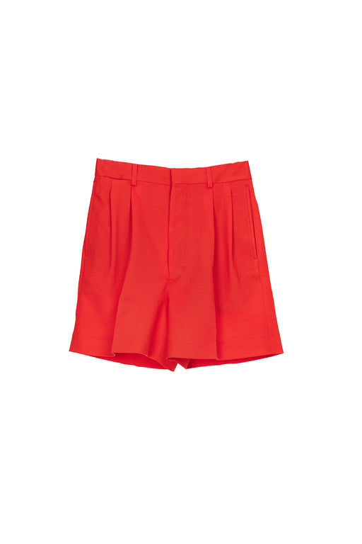 Pleated Shorts - Red