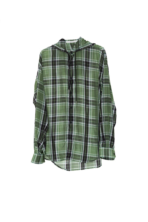 Hooded Shirt - Green Check
