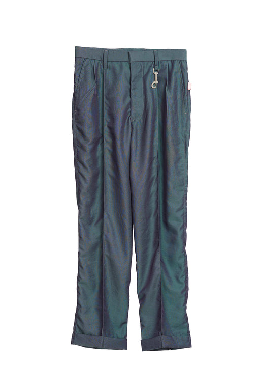 Pleated Trousers - Green/Purple Iridescent