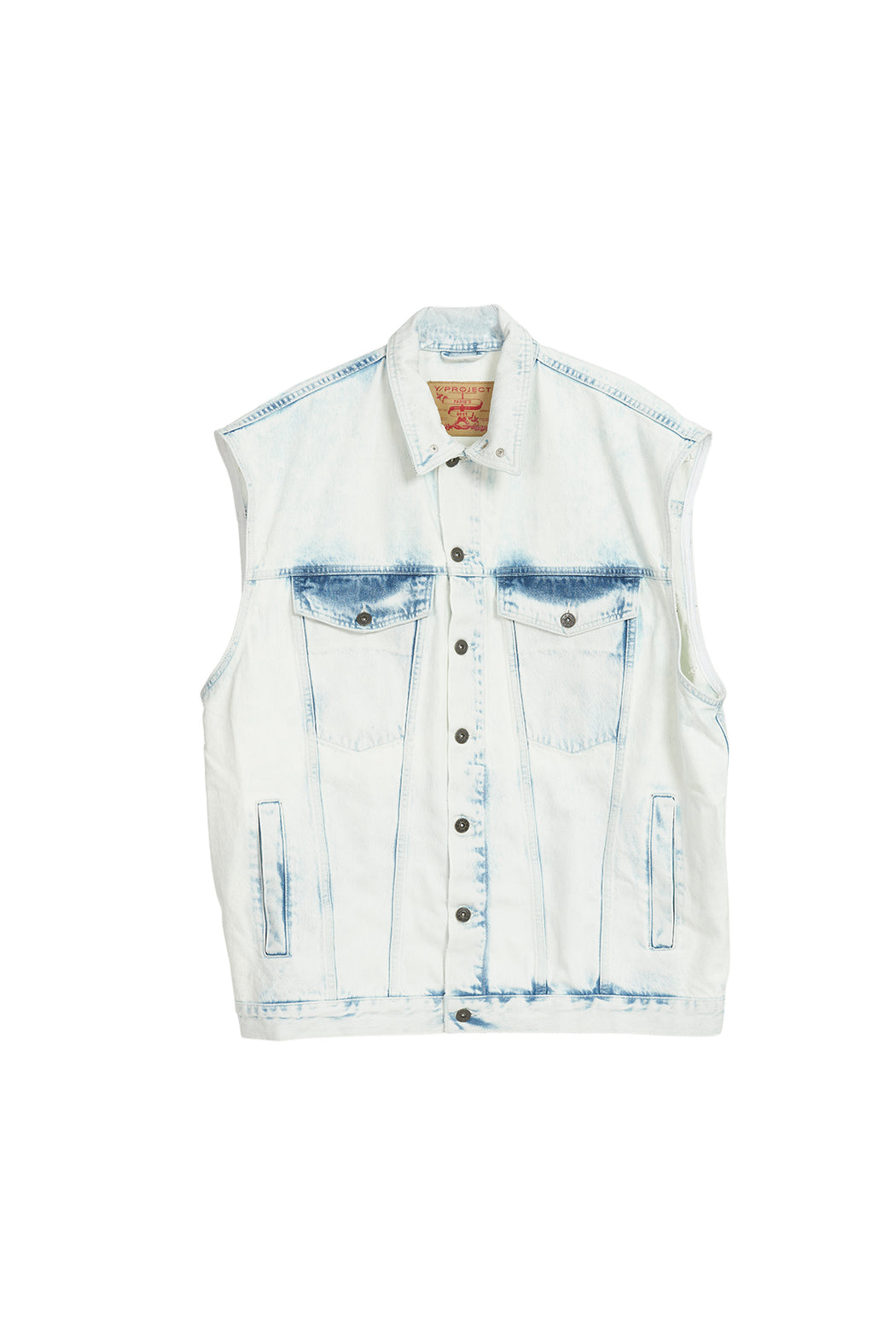 Covered Denim Vest - White/Blue
