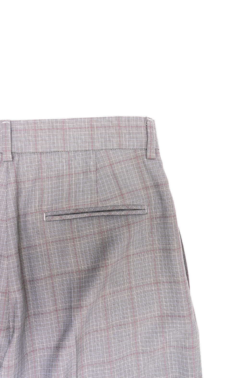 Plaid Wide Leg Trousers - Grey