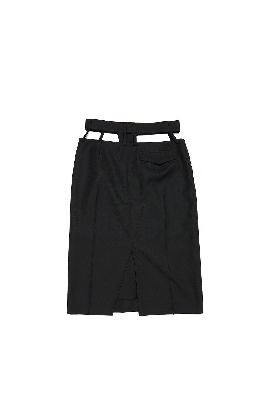 Waist Cutting Midi Skirt - Black