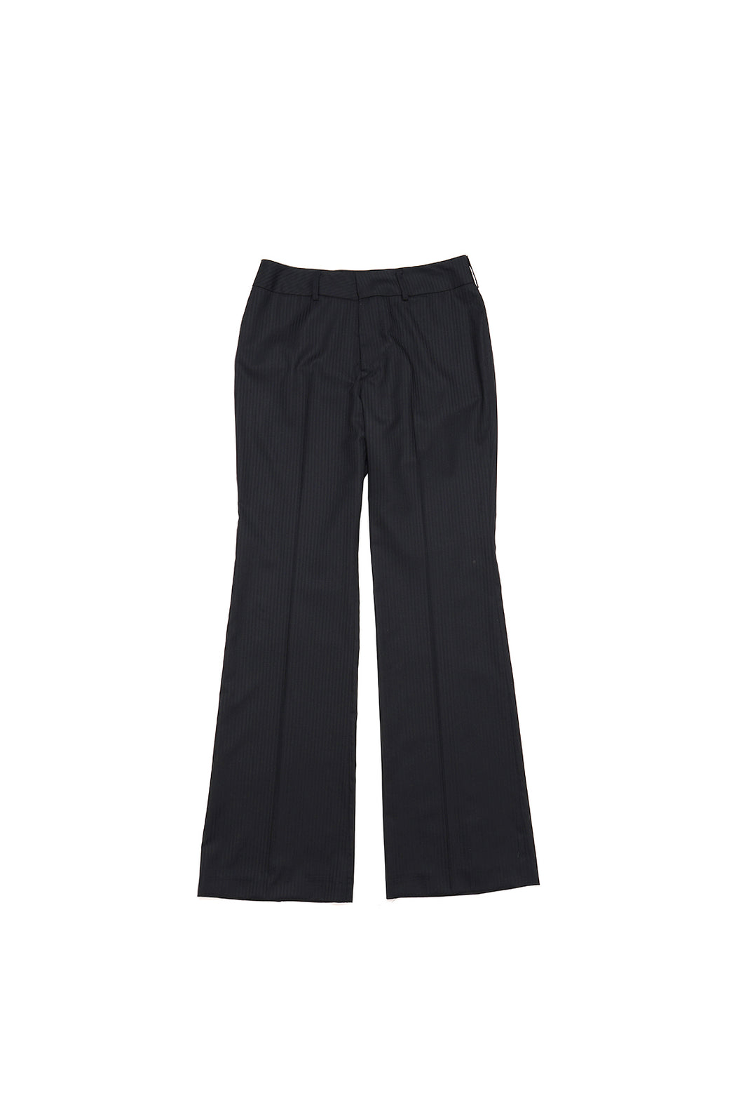 Striped Wool Flared Pants - Black