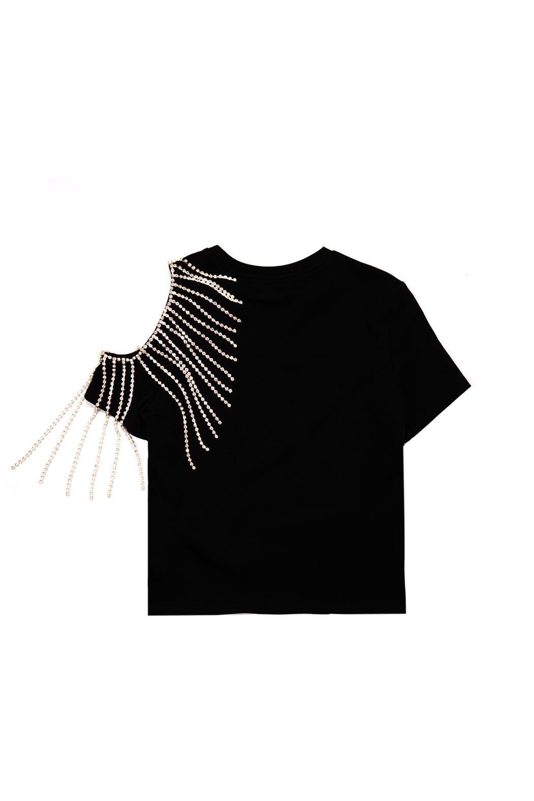 Crystal Fringe Shoulder Cutout Tee - Black
