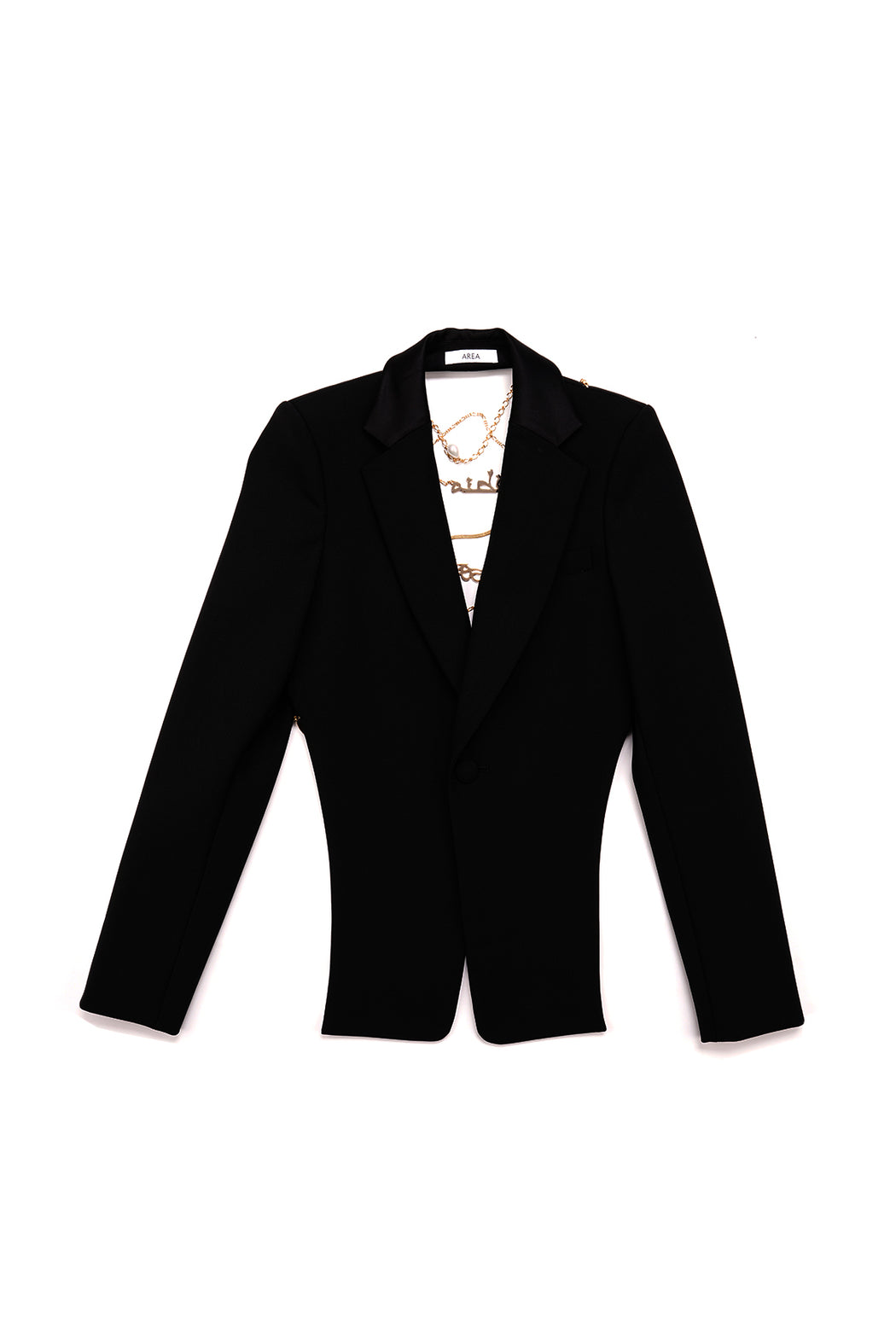 Open Back Blazer with Name Chain - Black