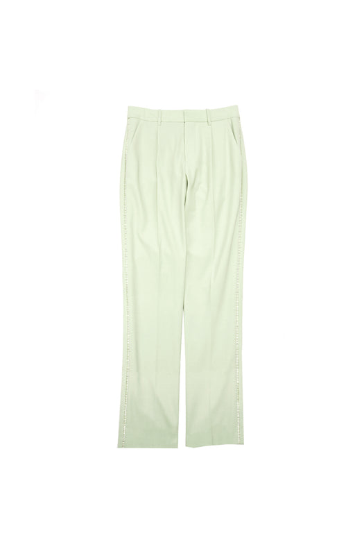 Crystal Trim Wide Leg Pleated Pant - Matcha