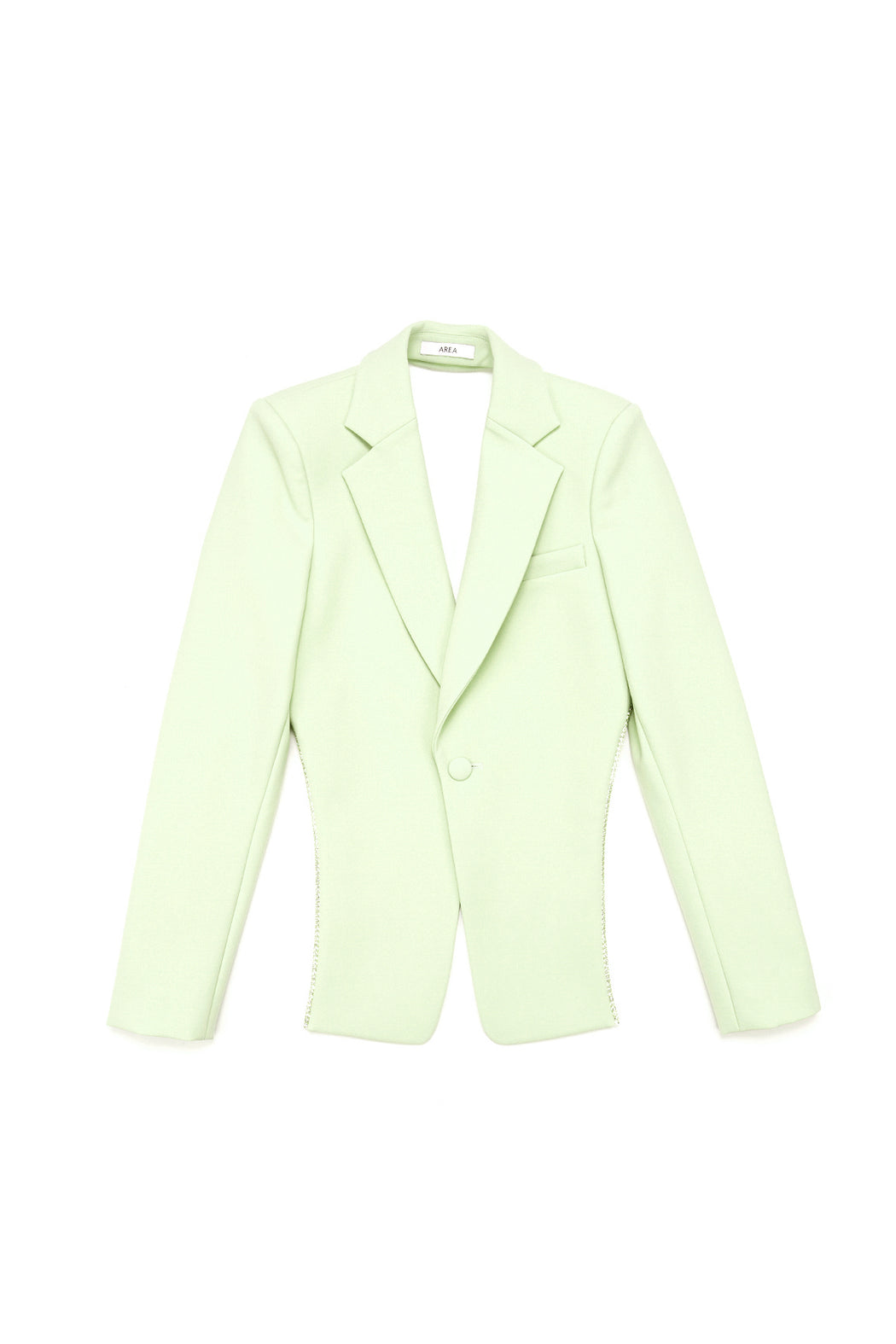 Crystal Trim Open Back Blazer - Matcha