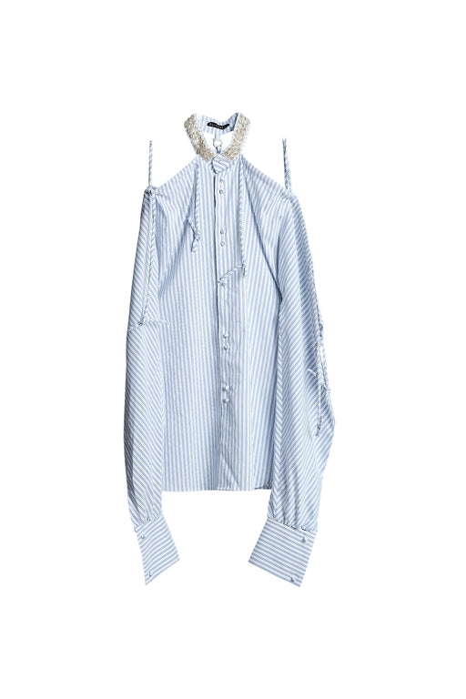 Off Shoulder Beaded Shirt - Stripe Skyblue