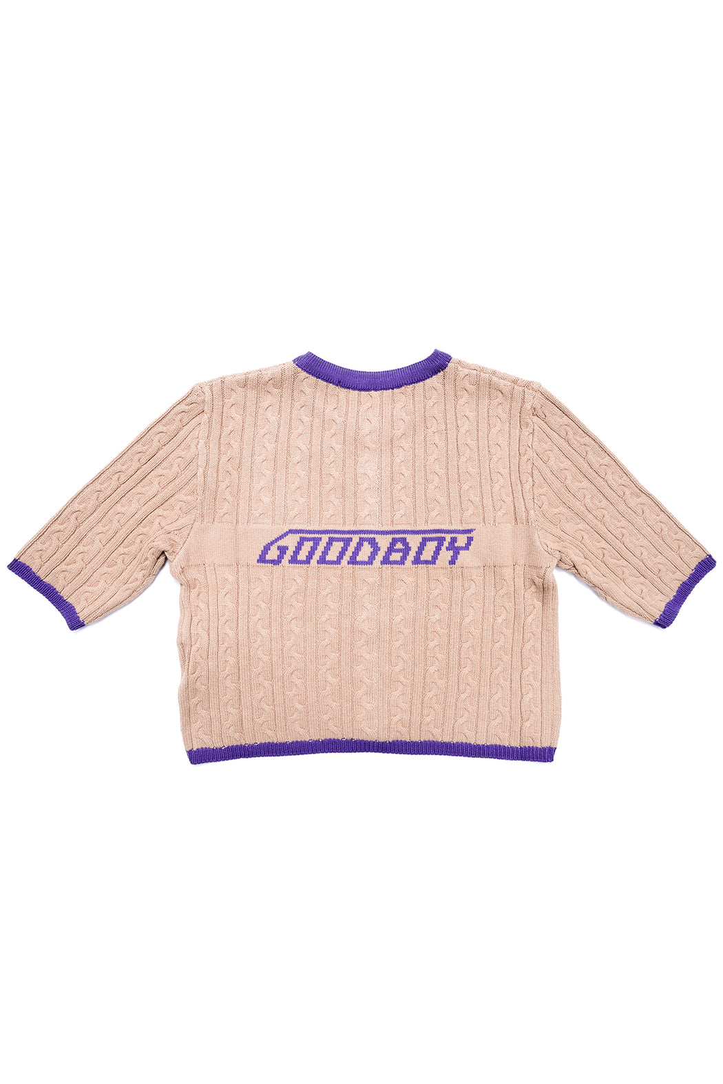 New Logo Crop Cardigan - Brown/Purple