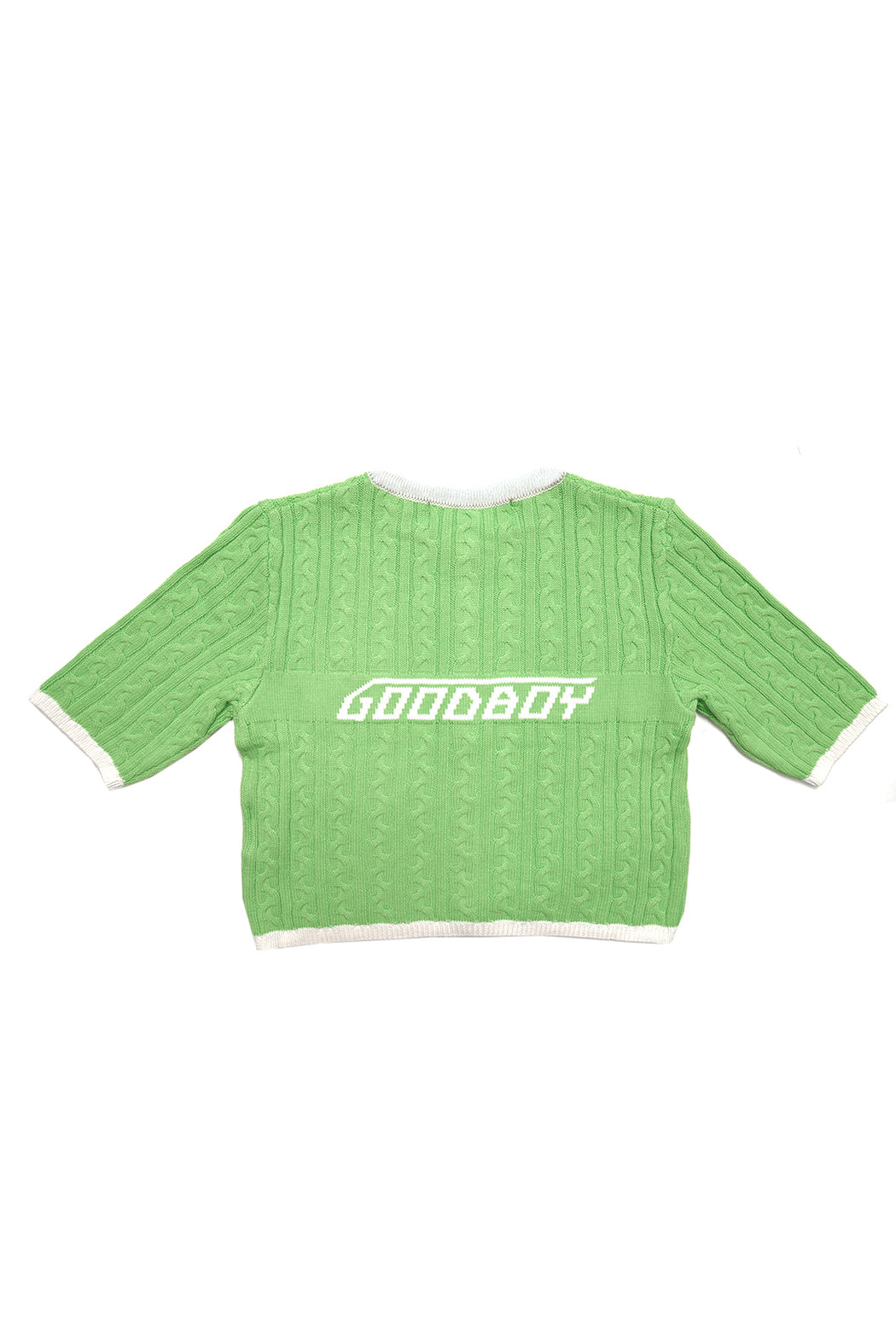 New Logo Crop Cardigan - Green/White