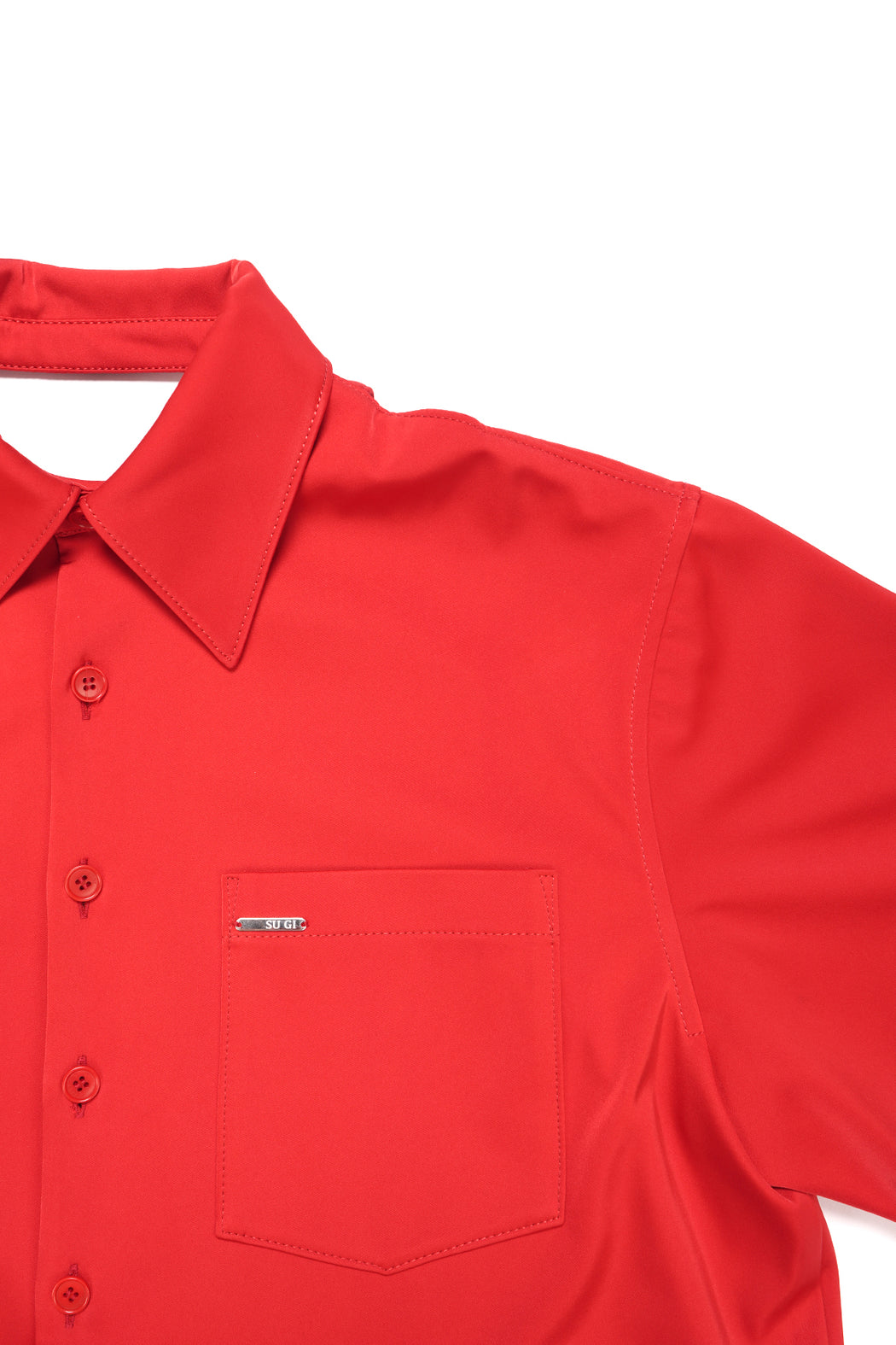 Back Cutting Oversized Shirt - Red