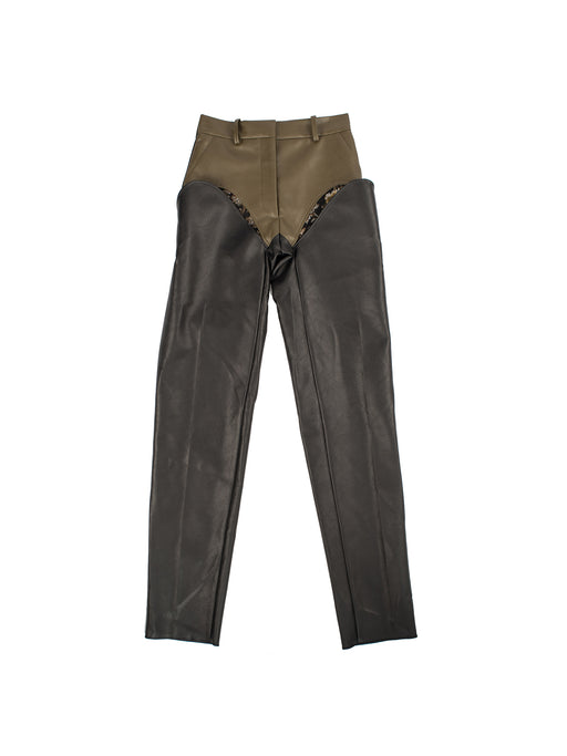 Cut-out Trousers - Leather/Green