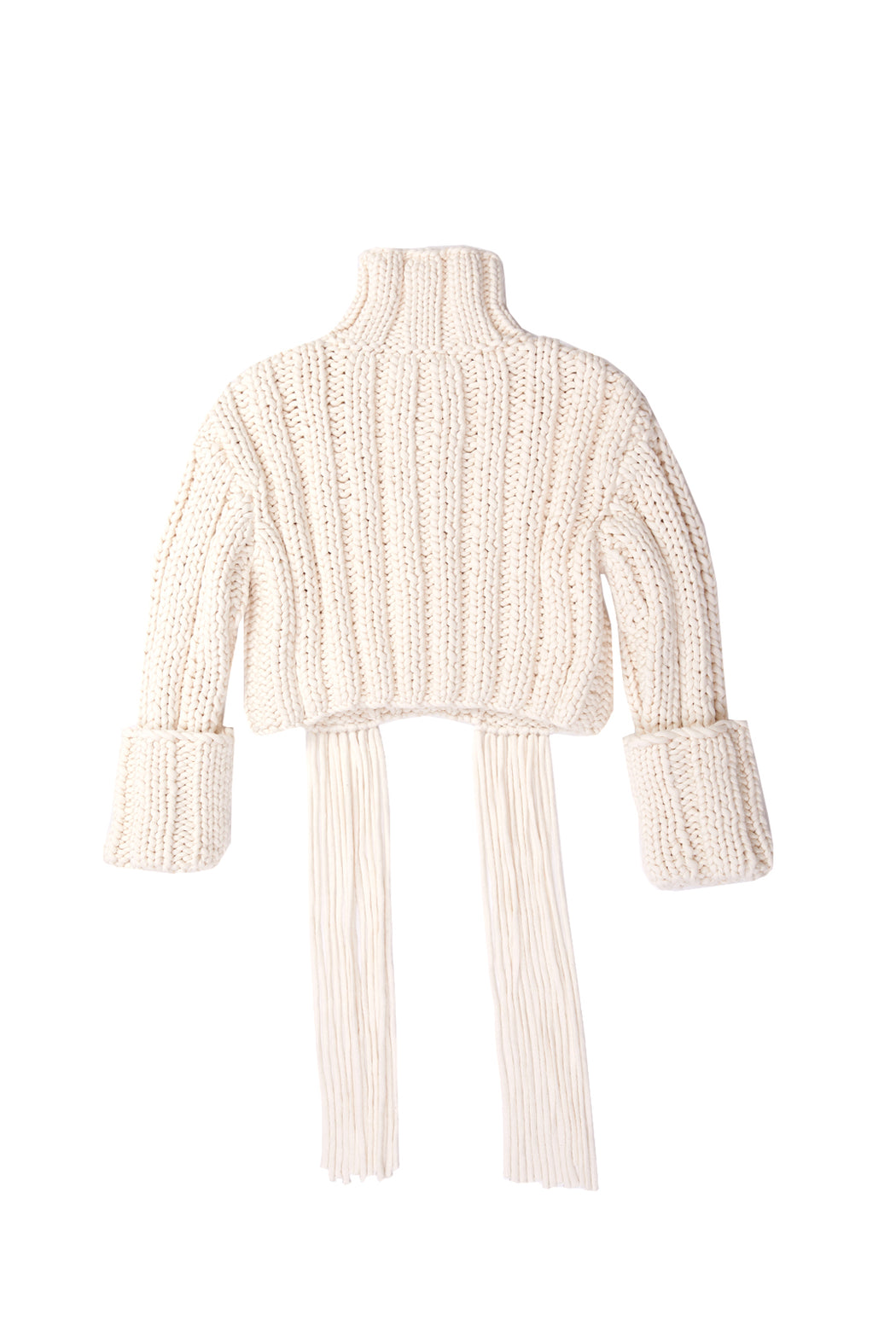 Cropped Cable Knit Sweater - White