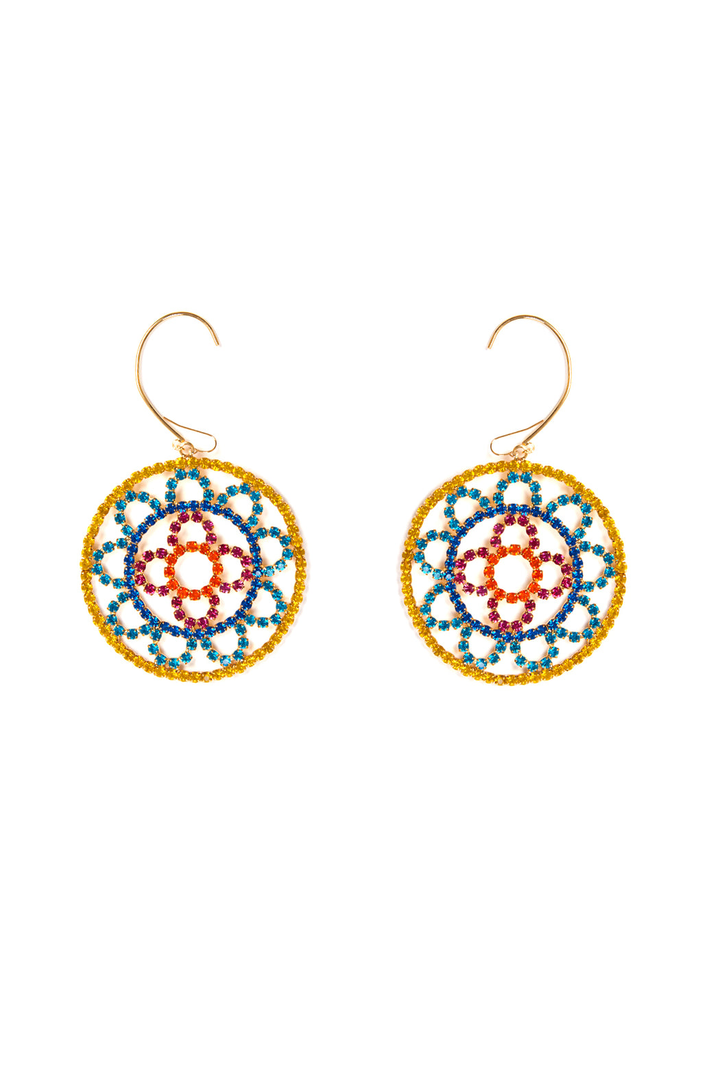 Crystal Cupchain Crochet Earrings - Multi