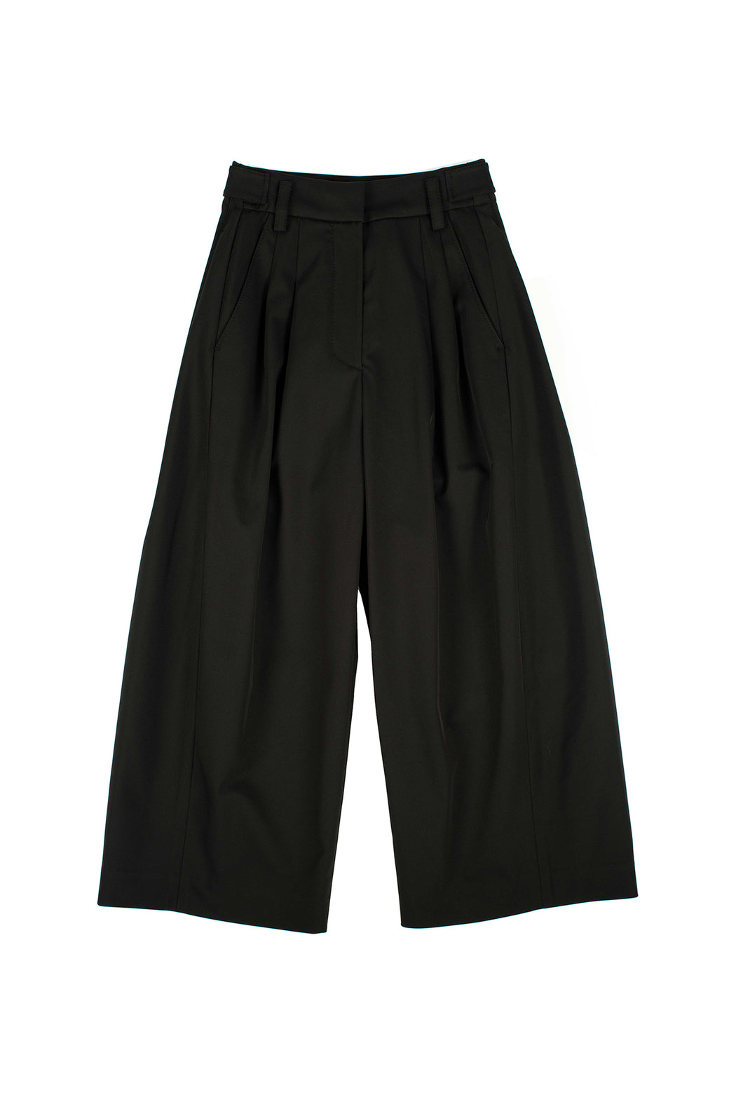 Midi Length Wide Pants - Black
