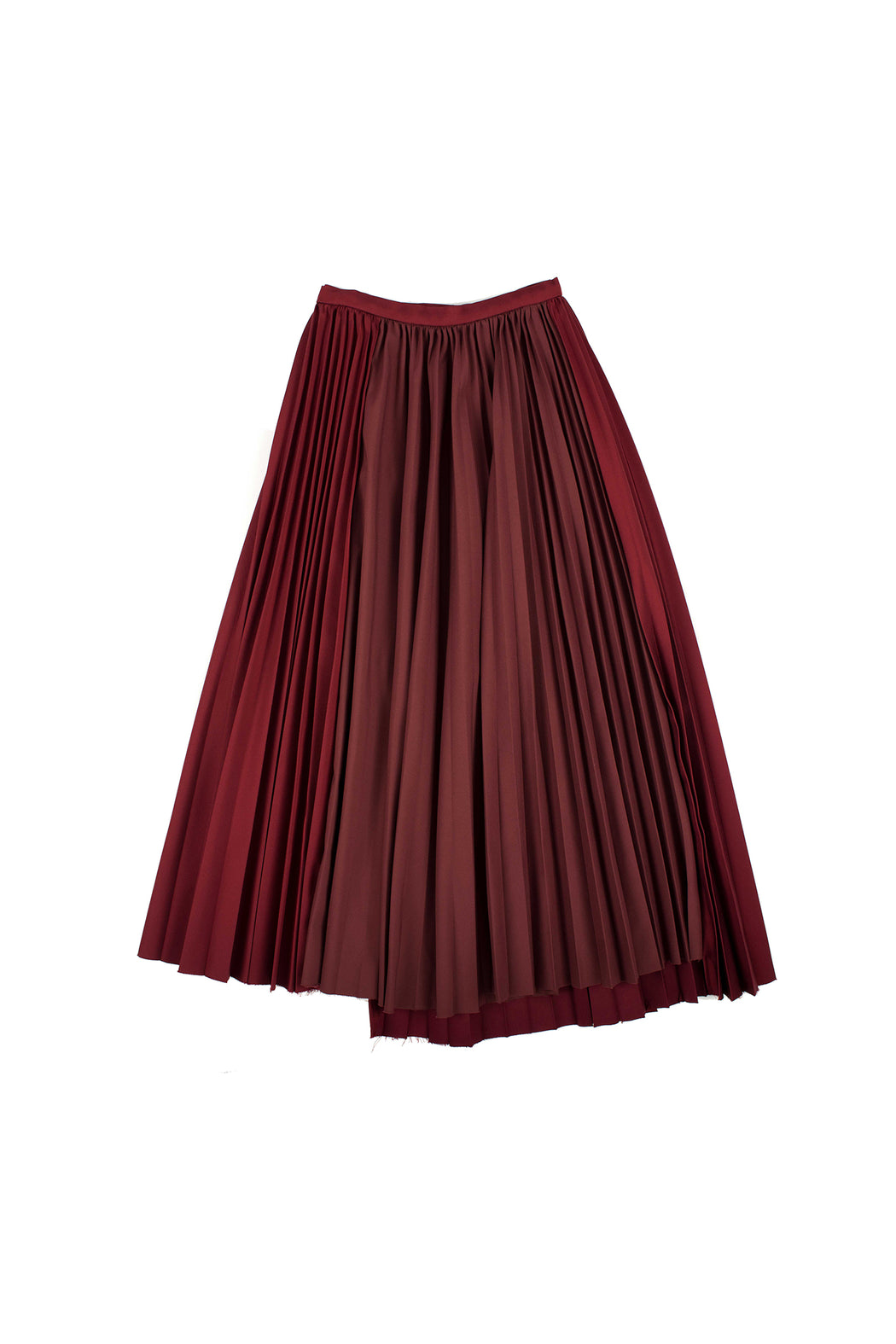 Unbalanced Hem Pleated Skirt - Burgundy