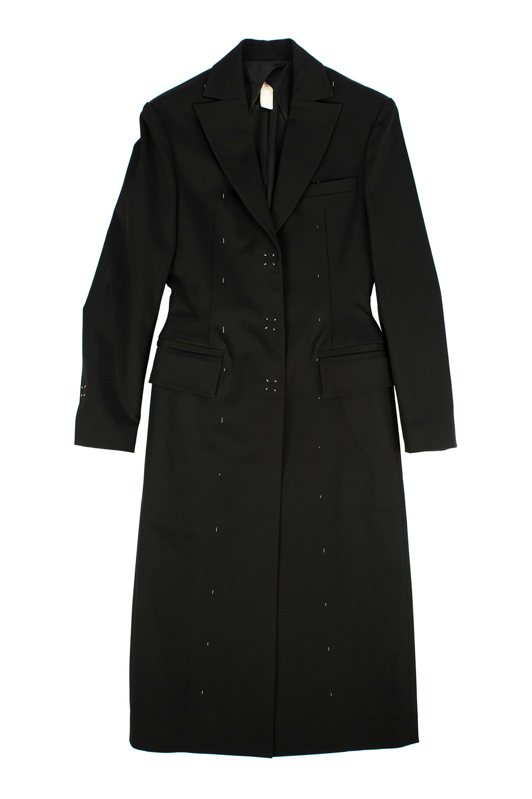 Vase Curve Line Stitching Snap Button Coat - Black