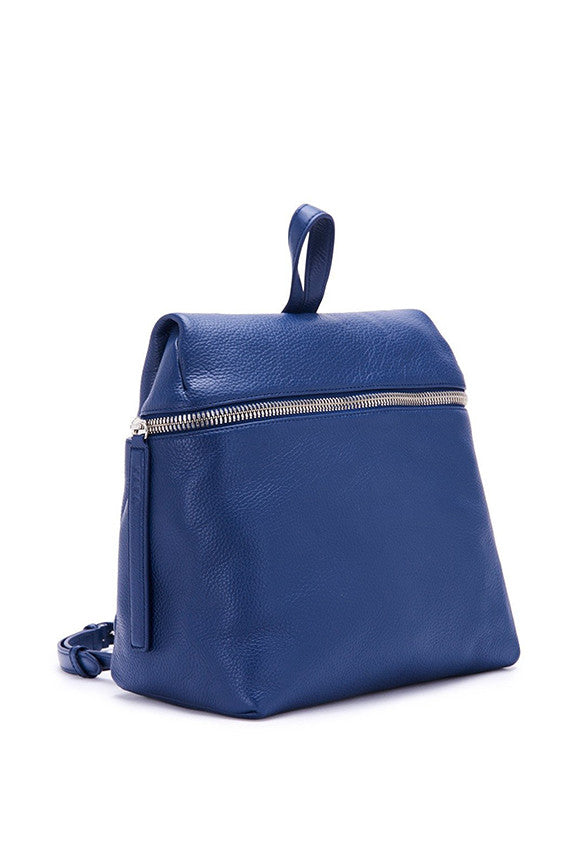 Pebble Leather Small Backpack - Navy