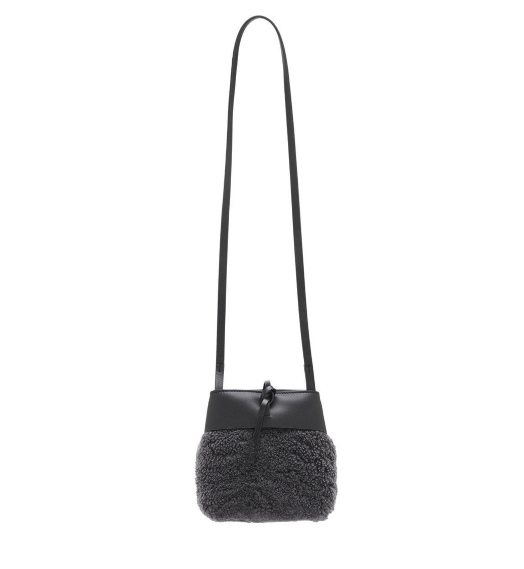 Shearling Nano Tie Crossbody - Grey