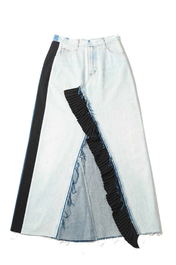 Mixed Colour Reworked Denim Maxi Skirt