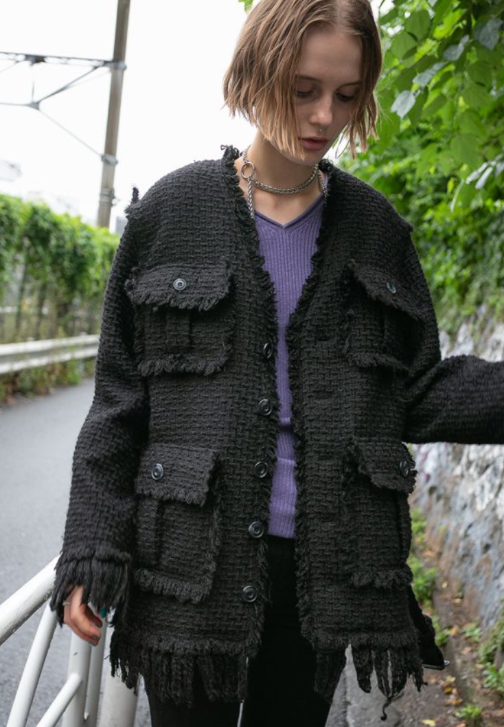 Crash Tweed V Collar Coat - Black