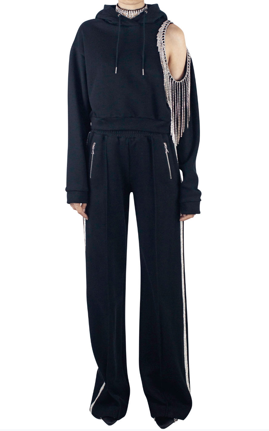Crystal Stripe Wide Leg Trackpant - Black