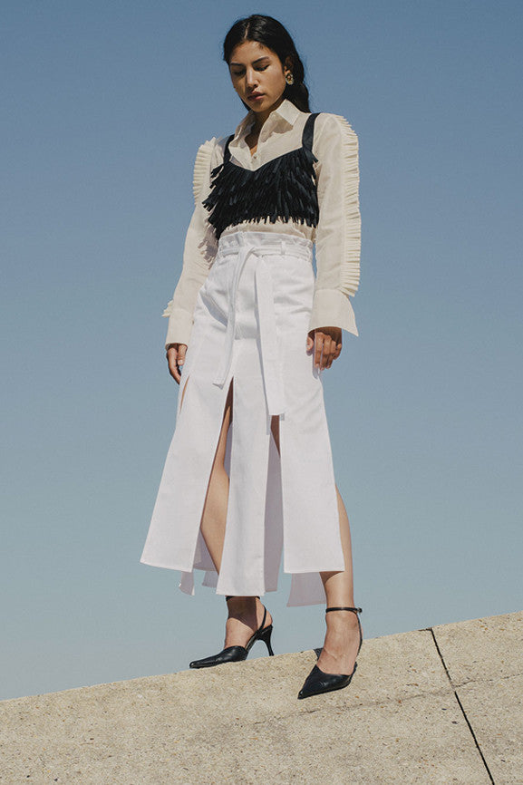 Long Workwear Skirt - White