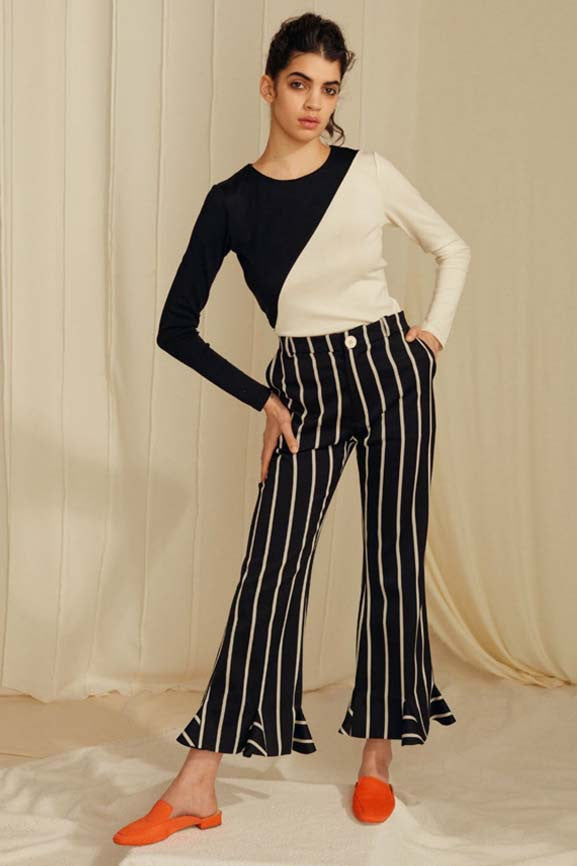 Tailored Pants - Black/White