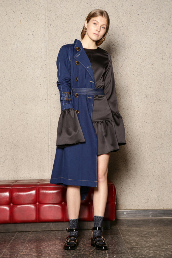 Denim Trench Coat - Navy