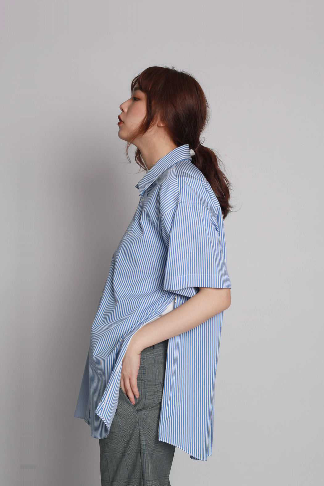 Contrast Short Sleeve Shirt - Blue
